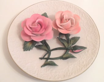 The Roses of Capodimonte LIMITED EDITION COLLECTIBLE Franklin Mint Heirloom Recommendation fine bisque porcelain plate