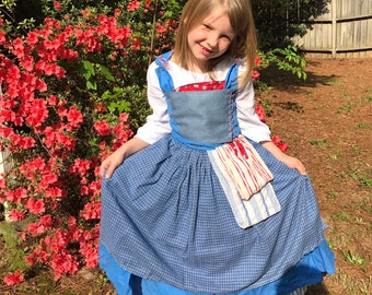 Child Blue Peasant Village Dress Costume Cosplay Inspired by Live Action Belle 2017 Beauty and the Beast Movie