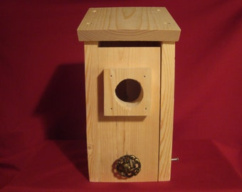 Bluebird Birdhouse with Information Sheet--Wood, Easy to Open Door for Clean Out and Viewing Nest, Wooden Predator Guard,