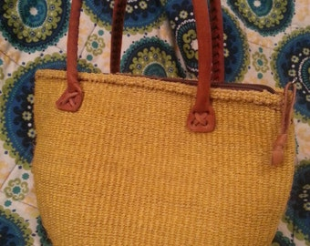 Handmade Purse Yellow Purse Leather Handle Yellow Boho Shabby Chic Purse