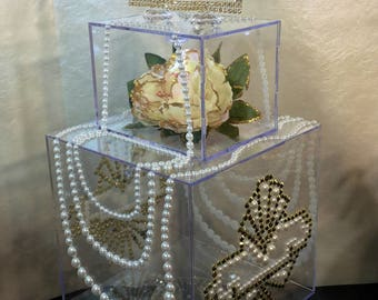 The Two Tier Old Hollywood Glam Clear Acrylic Exclusive Old Hollywood Glam inspired Gold and pearl Great Gatsby style wedding card box