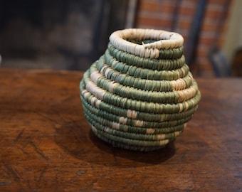 Vintage Small Native American Basket/ Green Coiled Basket/ Animal Motif/ Dog Image Basket/ Natural Fiber Basket/ Yucca Fiber basket/ Mini