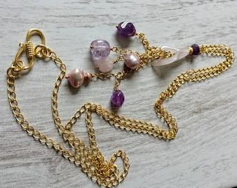 Rose Quartz Necklace- Rose Quarz- Rose Quartz Lilly- Amethyst Necklace- Lilac Pearls- Lilac Pearl Necklace- Pink Quartz