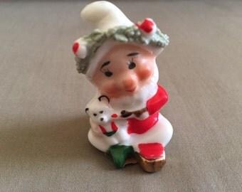 Vintage Napco TM Bone China Miniature Christmas Elf Santa Claus Helper