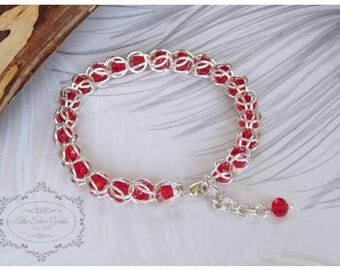 Chain Maille Bracelet, Capture Weave, Red Crystal, Chainmail, Chainmaille Jewelry, Gift For Her, Birthday Gift, Red Jewellery, Red Bracelet