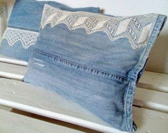 Denim Pillow with Vintage Lace, Decorative Pillow, Upcycled Jeans