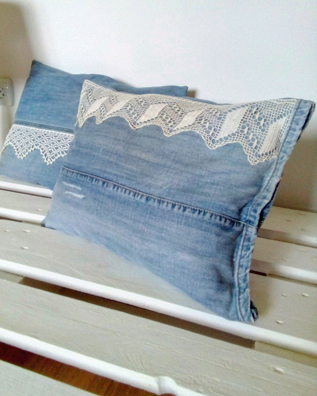 Decorative Denim Pillows : Denim Pillow with Vintage Lace Decorative Pillow Upcycled