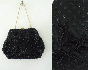 Vintage 80s Black Beaded Evening Purse, Black Clutch, Wristlet, Evening Purse, Party Purse, Fancy Purse, Beaded Clutch, Elegant, Fancy,Beads