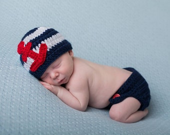 Newborn anchor outfit, red, white and blue newborn, baby fourth if july, nautical anchor baby set, newborn fourth of july, patriotic baby
