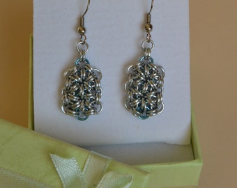 Chainmail Japanese 12-1 Rectangle Earrings