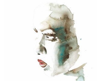 "Portrait I GICLEE PRINT of watercolour painting 11.5 "" x 16"""