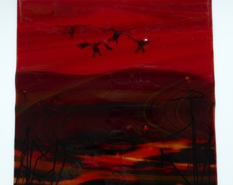 "Hand Made fused glass panel. 12 x 12 inches flying ducks ""Coming Home""Garnet reds and purples Transparent.Wall art"