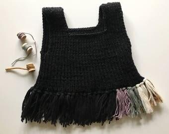 Hand knit merino crop vest fringe top baby toddler 6-18 months boho baby!