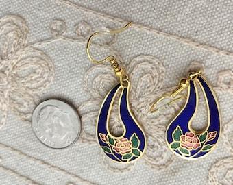 Vintage cloisonne earrings, cobalt blue dangle earrings, blue cloisonne earrings, blue enamel cloisonne earrings, earrings dangle, E115