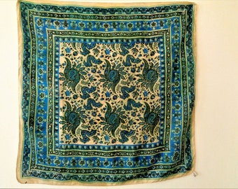 Blue Silk Scarf, Indian Silk Scarf, Blue and Yellow Silk, Hand Rolled Hem, Traditional Indian Pattern, Hand printed Scarf, Hand Made Scarf.