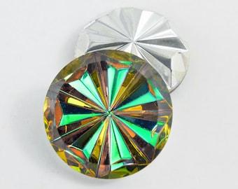 Vintage Vitrail Starbust Stones, Olivine/Green/Gold, Germany - 25 mm round - 2 pcs - C26-3