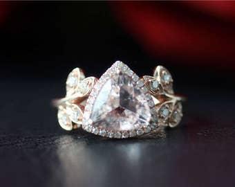 14K Rose Gold Morganite Ring Unique Wedding Ring 8mm Trillion Cut Morganite Engagement Ring Vintage Floral Morganite Ring Anniversary Ring