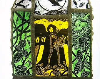 The Bramble Harvest - A4 Stained Glass Art Panel