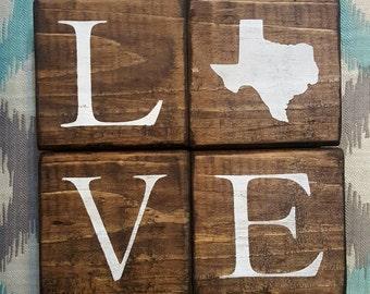 Texas Blocks. Love Blocks. Home Blocks. Texas Decor. Home State Decor. Rustic Decor. Purposed Wood. TX Decor. TX Blocks