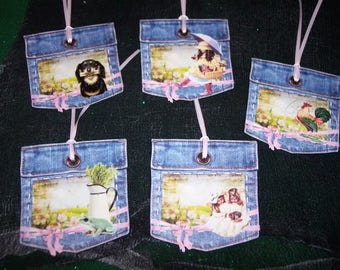 FIVE Primitive Hang Tags Denim Pockets Blue Jean Gift Tags