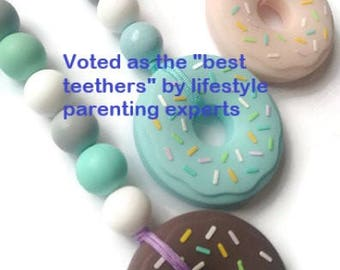 silicone teether on a clip, silicone donut teether, baby shower gift, gender reveal gift, gender neutral gift, new baby gift, new mom gift