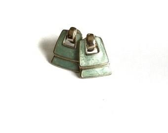 Darling little Silver Earrings with Enamel // Retro Earrings