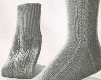 Vintage Sock Knitting Pattern for Men and Women - Retro Socks - PDF knitting pattern - Knitting patterns for women - cable and Eyelet sock