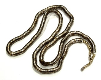 VINTAGE: LONG Tribal Silver Metal Articulated Snake Necklace - Silver Necklace - Stacked Necklace - (13-B2-00006649)