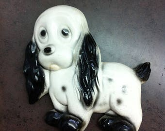 Vintage Chalkware Dog - Black and White Dog Plaque -  Spotted Puppy Wall Hangings - Childs Room Decor