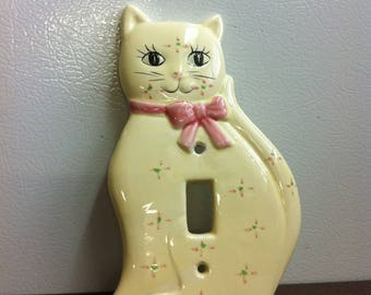 Vintage Cat Switch Plate - Cream Ceramic Switch Cover - Kitty Cat Wall Decor - Purrrrfect Gift for Cat Lover