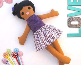 Girl Rag Doll Toy, Dress up Fabric Doll, Removable Skirt, Soft Black Hair Girl, Handmade kids Gift, Fabric doll toy /Poupee de chiffon-Fille