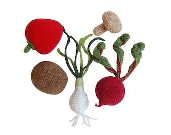 Crochet Play Food Set(5pcs)-Crochet Vegetables Crochet Food Play Pretend Food Crocheted Vegetables Kitchen Decor Montessori Toys Play Food
