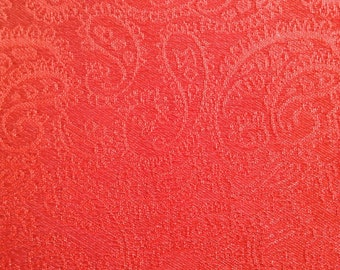 Solid paisley coral pocket square