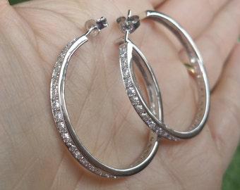 Sterling Silver Hoop, Silver Hoop Earring, Huggie Earrings, Large Hoop Earrings,  Huggie Hoops, CZ Earrings, Cubic Zirconia Hoop Earrings