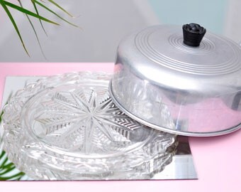 Vintage Cut Glass Cake Plate w//Aluminum Topper - Starburst//Snowflake Motif!