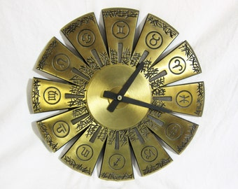 General Electric Cast Bronze Zodiac Self-winding Battery Clock 1960s