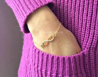 Eternity Bracelet - Infinity Bracelet - Love Jewelry - Eternity Jewelry - Dainty Gold Chain - Bridesmaid Gift - Mother Gift - Sister Gift