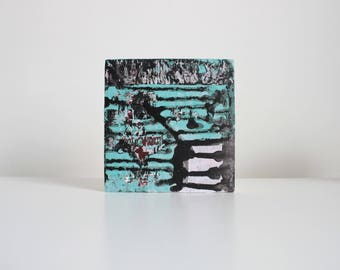 ABSTRACT PAINTING | Contemporary Painting | Mixed Media Art | Wall Art | Small Painting | Miniature Painting | Pink Blue Painting 4''x 4''