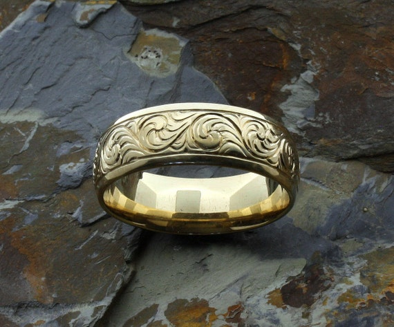Western Wedding Rings Engraved Gold Band Ring Bands