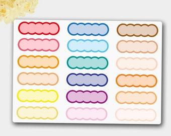 Rainbow Themed Scalloped Planner Stickers, Scallop Planner, Scallop Label, Scallop Flag, Scallop Erin Condren