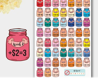 Savings Planner Stickers, Savings Tracker, Savings 52 Week, Challenge Stickers, Erin Condren Inspired Stickers