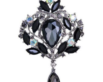 Black, Grey, Crystal Flower Bling Rhinestone Silver Brooch Pin Wedding Bridal Bouquet DIY Jewelry (TDK-W1173)