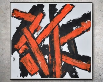Original Abstract Art Painting On Canvas Contemporary Art, orange black Canvas Painting MODIZ art