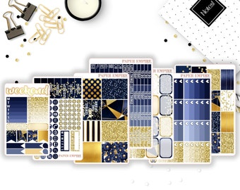 Midnight | Full Weekly Sticker Kit - 225 Planner Stickers for Erin Condren Life Planner Vertical, Plum Paper, Filofax etc.