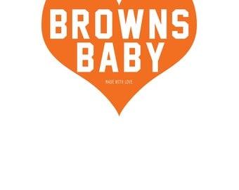 "Cleveland Browns Baby Heart Nursery Art - 8.5""x11"" PRINT"