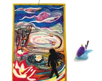 Original Wool Painting, Lotus Dreaming, Needle Felted Art.