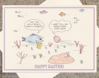 Easter Card, Easter Greeting Card, Easter Greetings, Funny Easter Card, Happy Easter Card, Cute Easter Card, Jelly Bean Card, Jellyfish Card