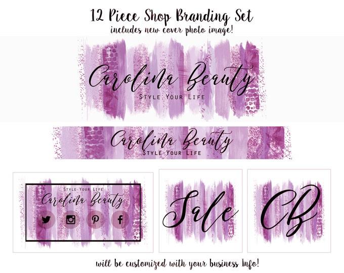 WATERCOLOR BRUSH STROKES Shop Set Cover Photo -Choose Your Font - Branding Package Banner Logo Business Card Purple Paint Strokes Shop Set