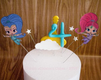 Shimmer And Shine Cake Topper Set, Customizable