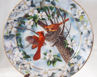 Vintage Decorative Plate, Cardinal Plate, Spring Decoration, Our First Home, Signs of Spring, Bradford Exchange, Floral Bird Lover Plate